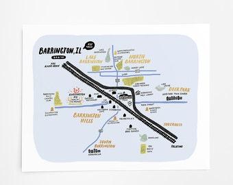 Barrington, Illinois Map - Art Print - 8x10
