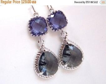 SALE Silver Purple Earrings, Gray, Grey, Glass, Charcoal, Amethyst, Tanzanite, Dangle, Bridesmaid Jewelry, Wedding Jewelry, Bridesmaid Earri