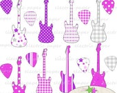 ON SALE Electric Guitar and Guitar Picks Digital Clip Art - Pink Purple Grey -  300 dpi png files - instant download