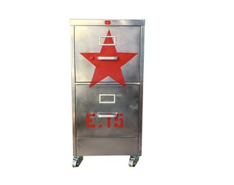red star file cabinet,  metal, brushed and polished steel  cabinet with two drawers and silver hardware and caster wheels made to order