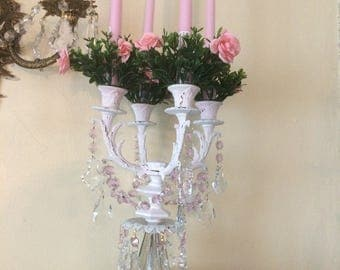 Candle candelabra shabby chic, ornate metal white distressed 4 candelabra with AsFour crystal prisms