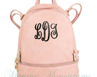 Personalized Dusty Pink Soft Textured Synthetic Leather Backpack Purse FREE Monogram
