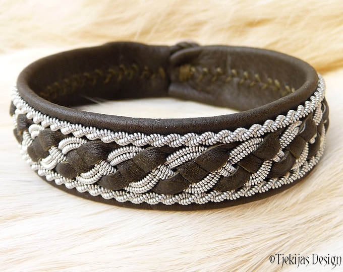 """Viking Sami Bracelet FAFNIR size 17 cm / 6.7"""" - 20% off OUTLET ready to ship - Olive Reindeer Leather with braided Spun Pewter Wire"""