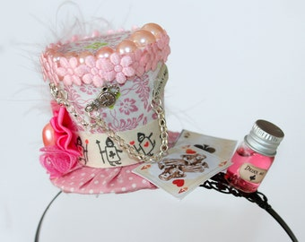 Alice in Wonderland Headband - Mad hatter Party Hat - Sweet Lolita accessories - Mad Hatter Mini Hat - Alice in Wonderland Mini Top Hat