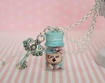 Alice in Wonderland Necklace - Eat Me Drink Me necklace - Candy Jar Necklace - Fantasy Jewelry - Bottle necklace - Key Pendant Necklace