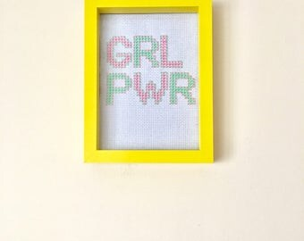 Grl Pwr cross stitch // Framed // Ready to Ship