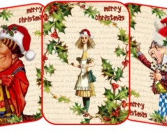 Christmas Alice in Wonderland 8 table tent card party decoration