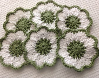 Six Crocheted Coasters, 100% Cotton