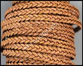 5 Yards 5mm Flat BRAIDED Leather Cord - Distressed Light BROWN 15 Feet Braided Indian Genuine Lead Free USA Wholesale Leather Cording