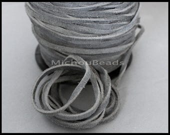 DESTASH Sale 5 Yards Genuine SUEDE Cord - Vintage GRAY 15 feet 3x1.8mm Distressed Split Suede Leather Natural Dye Color Lace Cord the Yard