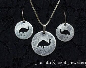 Sterling silver emu earrings or pendant