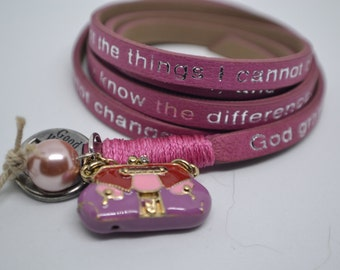 Humanity Leather Wrap Serenity Prayer Bracelet Blush Pink with Purse Bag Charm Message Goodworks