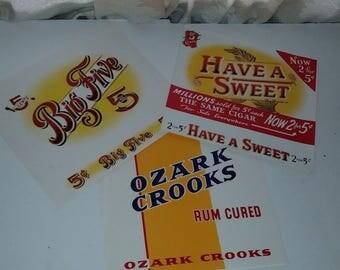 3 large cigar box labels Vintage advertising colorful embossed paper ephemera NOS mixed media paper art supplies