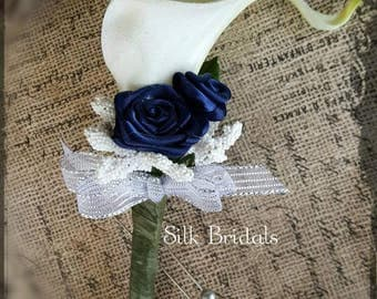 White Calla Lily Boutonniere navy blue Groom groomsman bridal silk real touch wedding flowers father prom keepsake