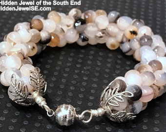 Beige Grey Bracelet, Faceted Quartz Crocheted Gemstone Bracelet with silver magnetic clasp made in boston, a perfect gift for her (CR56)