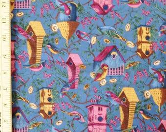 County Fair Fabric, Hoffman International Quilting Cotton, Birds and Birdhouses, Blue Pink Yellow, 1 yard length