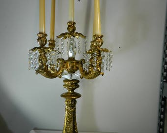 Vintage Ornate Candleabra Figural 5 Arm Gold Gilt Ormolu with Butane Candles