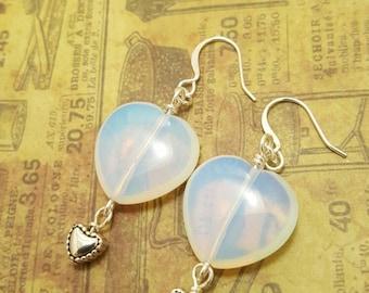 Valentine's Day Sea Opal glass Heart Earrings