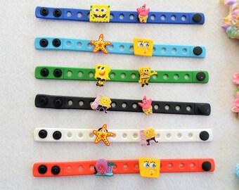10 Spongebob  Silicone Charm Bracelets