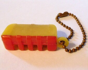 RED and YELLOW Plastic Toy WHISTLE Vintage Prize Keychain Key Chain Fob Unique Design