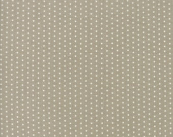 Tan and White Polka Dot Fabric - Darling Little Dickens by Lydia Nelson from Moda 1/2 Yard