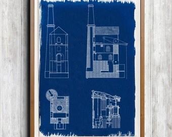 Cornish Engine House A4 Hand coated traditionally made cyanotype blueprint