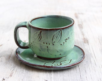 Cup and Saucer - Rustic Handcrafted Pottery - Stoneware Mug - Tea Cup - Aqua Mist Turquoise - READY TO SHIP