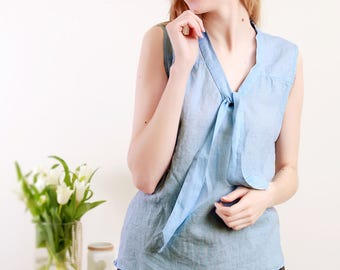 Pure Linen Blouse Sleeveless With Front Bow In Sky Blue/ Linen Top/ Linen shirt