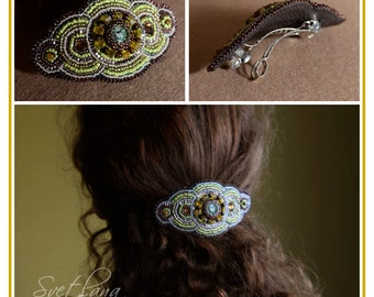 Embroidered hair clip, Beaded barrette with the beautiful Zoisite and Tiger eye gemstones Fashion Handmade