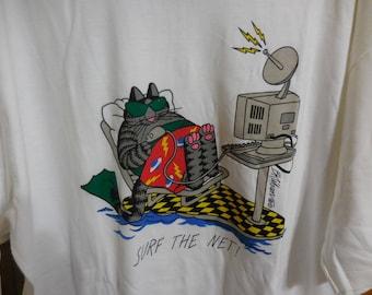 "Vintage NOS KLIBAN Cat T-Shirt ""Surf the Net"" Vintage Crazy Shirt with Kliban CAT and Computer - Size X-Large"