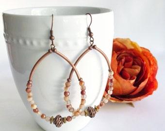 Bohemian hoop earrings, boho chic gemstone earrings, beaded earrings, pink stone jewelry,  antiqued brass and Peruvian opal, boho jewelry