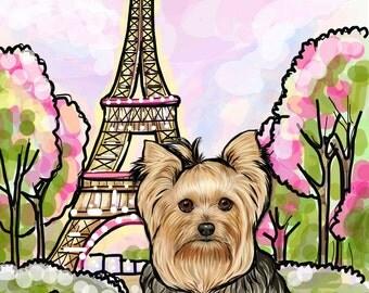 Yorkie Yorkshire Terrier Art Print (8x10, 12x16, 16x20, 24x36 inch Paper prints) Reproduction Luster Dogs Pets Paris Eiffel Tower