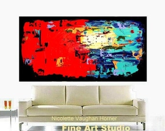 "SALE Original XL 48"" Abstract Painting Multi Shades,textured,Ready to Hang Gallery Canvas Contemporary Absract Fine Art Nicolette Vaughan Ho"