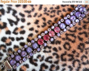 Purple Pink Rhinestone Bracelet 1950's Collectible Jewelry Chunky Wide Retro Rockabilly Mad Men Mod Hollywood Regency