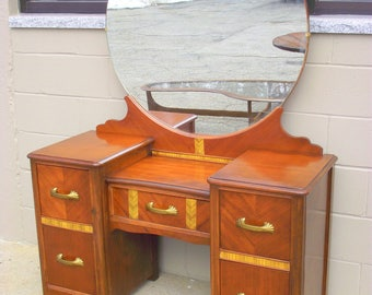 Art Deco Vanity with Large Mirror - Antique Heirloom - Original Bakelite Mirror Holders and Hardware Shabby Cottage Chic Dresser Table Stand