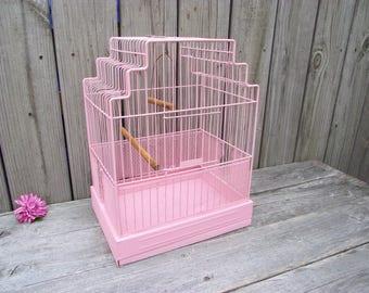 Shabby Pink Antique Bird Cage Crown Birdcage - Retro Wedding Storage Display - Decorative Cottage Chic French Country Farmhouse Garden Decor