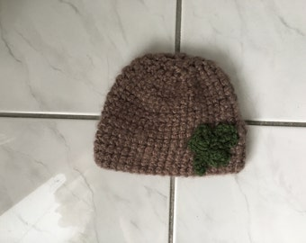 Baby Newborn Brown Crochet St. Patrick's Day Hat