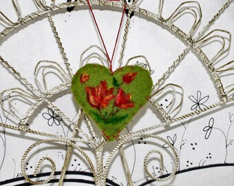 Needle felted heart ornament, floral Forget me not heart ornament, tulip felt ornament, heart pincushion, spring green coral tulip