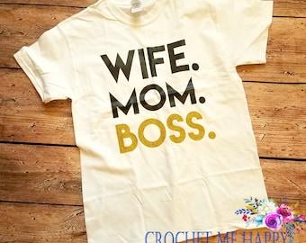 Wife. Mom. Boss.  MomLife #Momlife Work Out Tee Shirt, Tank Top