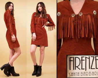 80s Vtg Genuine Sienna Leather FRINGE Concho Mini Dress / Deadstock Corset Lace Up BOHO Hippie Western Biker Babe / Xs Sm