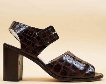 90s Vtg Espresso PATENT Leather Crocodile Chunky Platform Heel Sandal / Charles David Ankle Strap Mary Jane Minimalist Mod 10 Eu 42