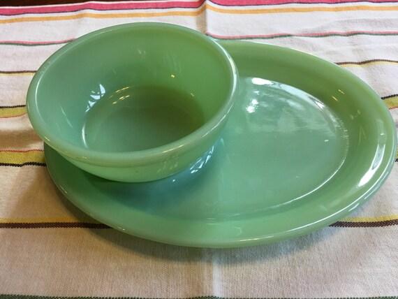Fire King Jadeite Lunch Counter Soup & Sandwich Bowl Plate Platter G211 G 309
