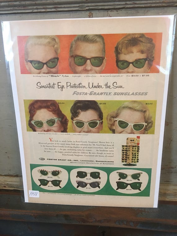 1958 Original Advertising Foster Grants Sun Glasses Ad w prices
