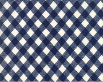 VINTAGE PICNIC  Moda by the half yard cotton quilt fabric Bonnie & Camille Basics-navy blue white check 55124-37