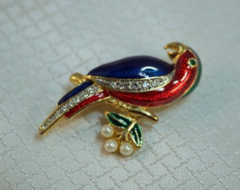 Red and Blue Enameled Parrot Fashion Brooch