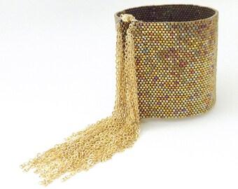 2 CUFFS, Gold Tassel Cuff, Tassel Chain Bracelet, Thick Tassel Cuff, Thick Gold Cuff, Beaded Cuff, Gold Bracelet