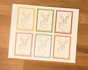 Jackalope Stamp Collage Art Print