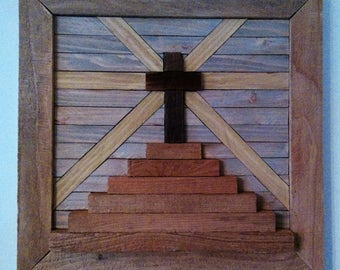 Reclaimed Wood, Primitive Decor, Vintage, Recycled, Barn Wood, Wall Art, Salvage, Wood, Decor, Lath, Cross, Easter, Religious, Crucifixion