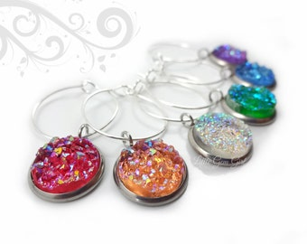 6 Wine Charms - Druzy Wine Charms - Rainbow Crystal Charms - Wine Glass Favors - Wine Lover Gifts - Bar Accessories - Personalized Wine Gift