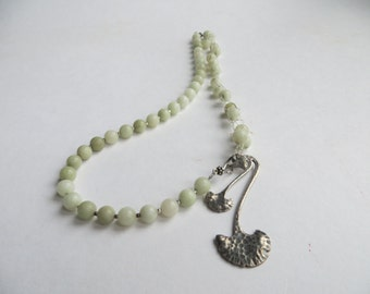 Jade Gingko necklace Bubble jewelry silver 925 green jade gemstones Botanical jewelry Healthy memory ginkgo brains concentration jewelry